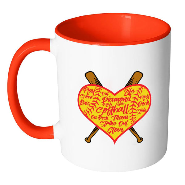 I Love Softball Heart Softball 11oz Accent Coffee Mug(7 Colors)-NeatFind.net