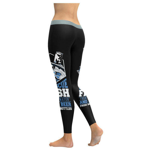I Rescue Fish From Water & Beer From Bottles Low Rise Leggings (3 colors)-NeatFind.net