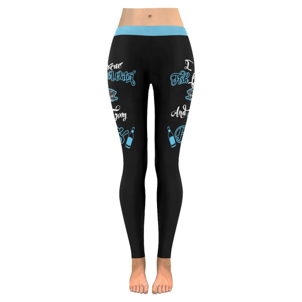 I Rescue Fish From Water & Beer From Bottles V2 Low Rise Leggings For Women (3 colors)-NeatFind.net