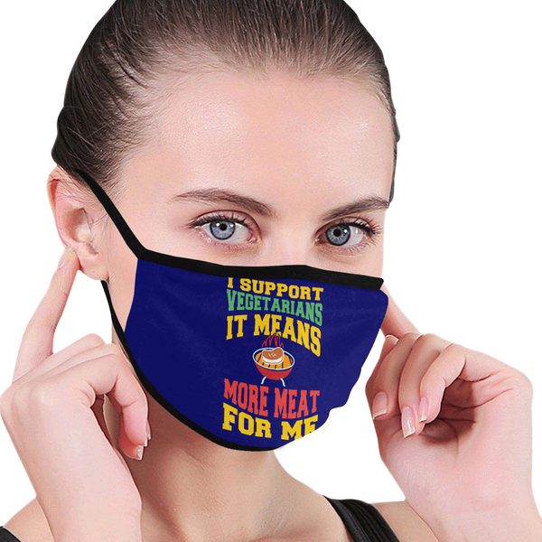 I Support Vegetarians It Means More Meat For Me Washable Reusable Cloth Face Mask-NeatFind.net