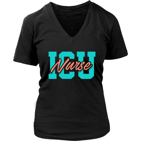 ICU Nurse Awesome Cool Uncommon Unique Cute Nurses Week Gifts Ideas VNeck TShirt-NeatFind.net