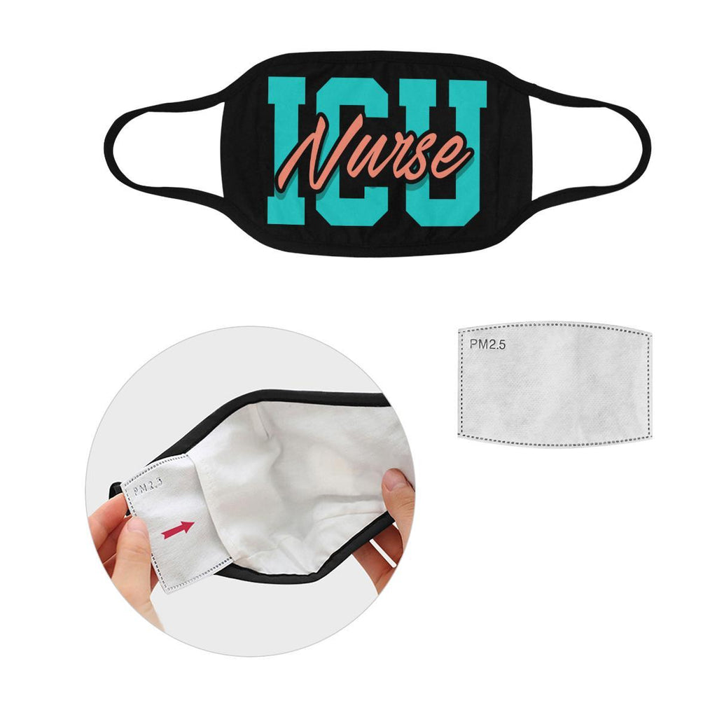 ICU Nurse Washable Reusable Cloth Face Mask With Filter Pocket-Face Mask-L-Black-NeatFind.net