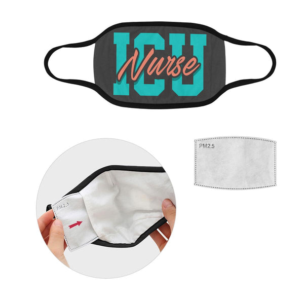 ICU Nurse Washable Reusable Cloth Face Mask With Filter Pocket-Face Mask-L-Grey-NeatFind.net