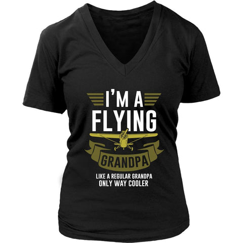 Im A Flying Grandpa Like Regular Grandpa Only Way Cooler Cool Pilot VNeck TShirt-NeatFind.net