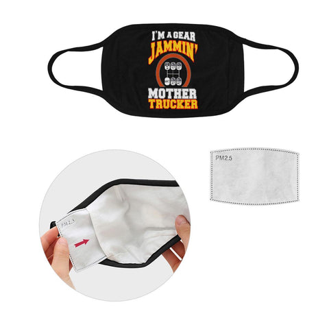 Im A Gear Jammin Mother Trucker Washable Reusable Cloth Face Mask With Filter-Face Mask-L-Black-NeatFind.net