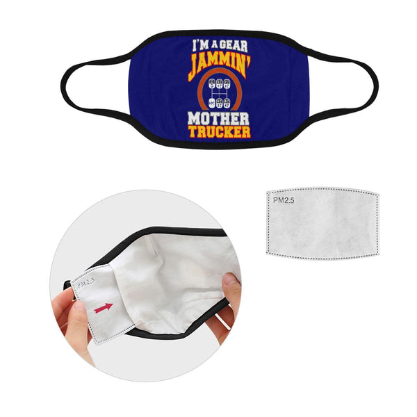 Im A Gear Jammin Mother Trucker Washable Reusable Cloth Face Mask With Filter-Face Mask-L-Navy-NeatFind.net