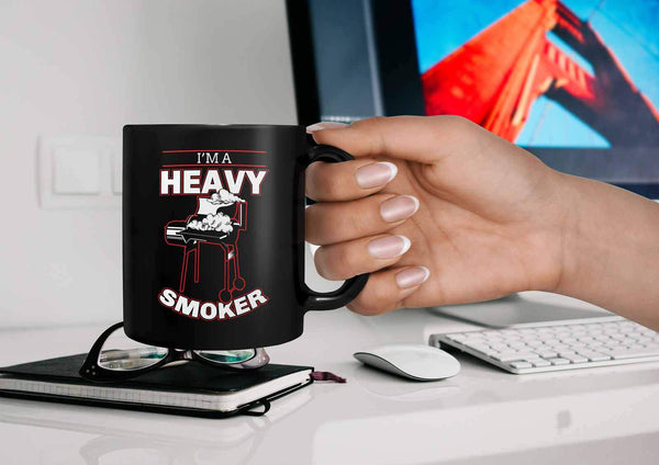 I'm A Heavy Smoker Awesome BBQ Cool Funny Gifts Black 11oz Coffee Mug-NeatFind.net