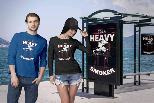 Im A Heavy Smoker Awesome BBQ Cool Funny Gifts Gag Soft Comfy Long Sleeve TShirt-NeatFind.net