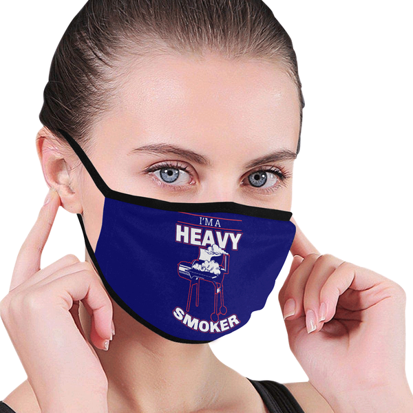 Im A Heavy Smoker Funny BBQ Washable Reusable Cloth Face Mask With Filter Pocket-NeatFind.net