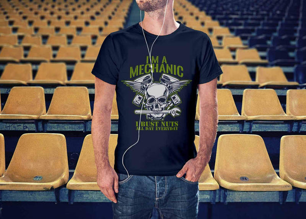 Im A Mechanic I Bust Nuts All Day Everyday Funny Auto Gift Unisex TShirt-NeatFind.net