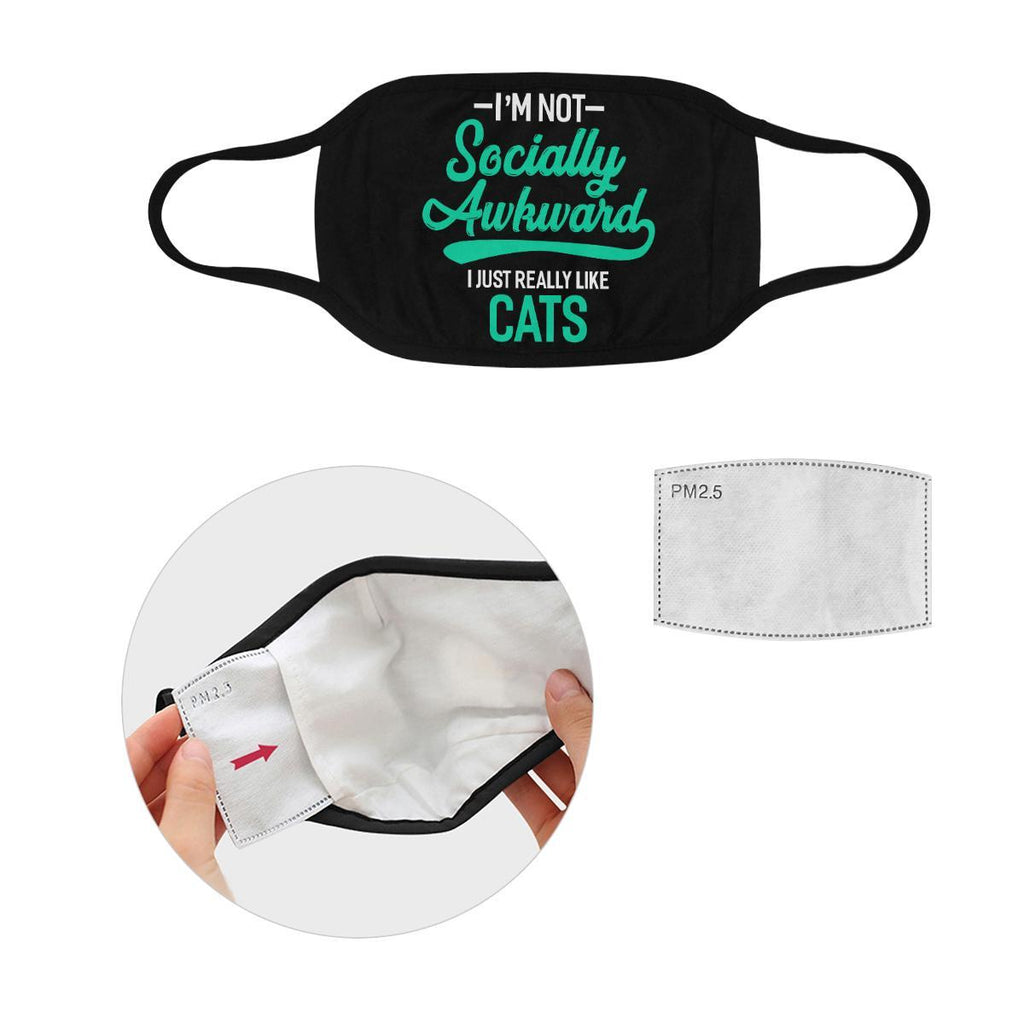 Im Not Socially Awkward Just Really Like Cats Washable Reusable Cloth Face Mask-Face Mask-S-Black-NeatFind.net