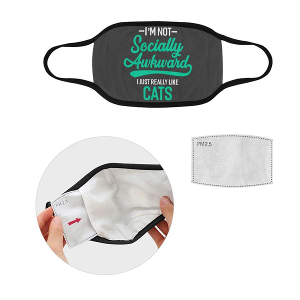 Im Not Socially Awkward Just Really Like Cats Washable Reusable Cloth Face Mask-Face Mask-S-Grey-NeatFind.net
