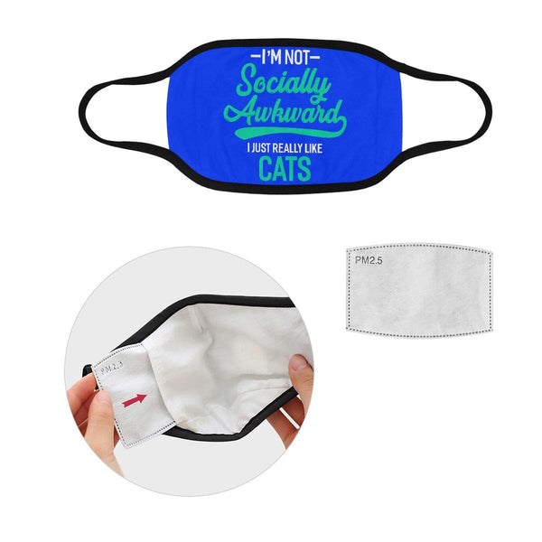Im Not Socially Awkward Just Really Like Cats Washable Reusable Cloth Face Mask-Face Mask-S-Royal Blue-NeatFind.net
