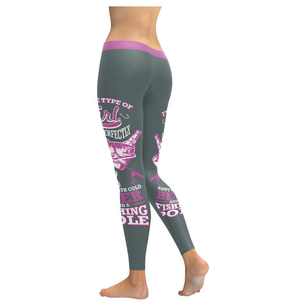 I'm Type Of Girl Who Is Perfectly Happy With Cold Beer And A Fishing Pole Low Rise Leggings For Women (3 colors)-NeatFind.net