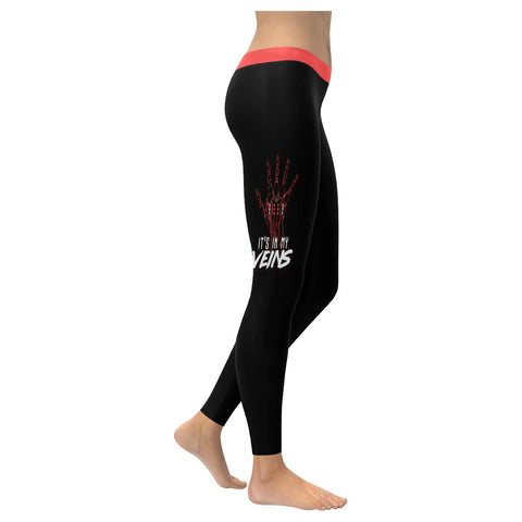 Its In My Veins Cool Guitar Funny Awesome Guitarist Gift Ideas Womens Leggings-NeatFind.net