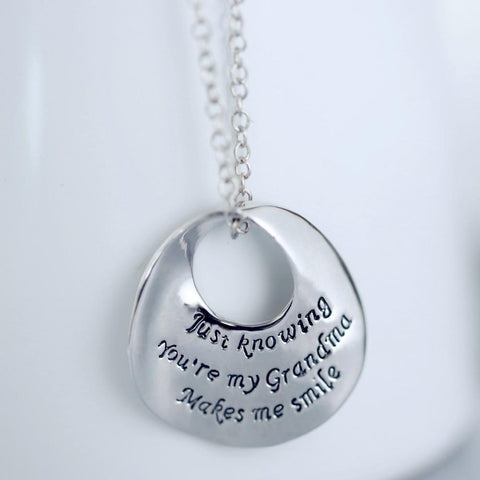 Just Knowing You're My Grandma Makes Me Smile Vintage Pendant & Necklace-NeatFind.net