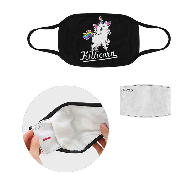 Kitticorn Cat Lovers Washable Reusable Cloth Face Mask With Filter Pocket-Face Mask-S-Black-NeatFind.net