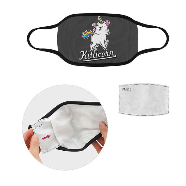 Kitticorn Cat Lovers Washable Reusable Cloth Face Mask With Filter Pocket-Face Mask-S-Grey-NeatFind.net