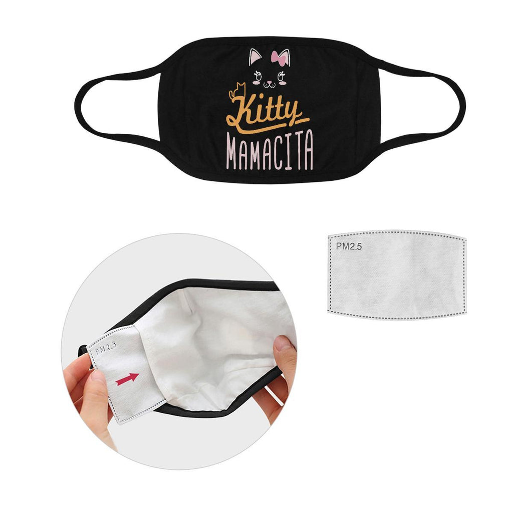 Kitty Mamacita Cat Lovers Washable Reusable Cloth Face Mask With Filter Pocket-Face Mask-S-Black-NeatFind.net