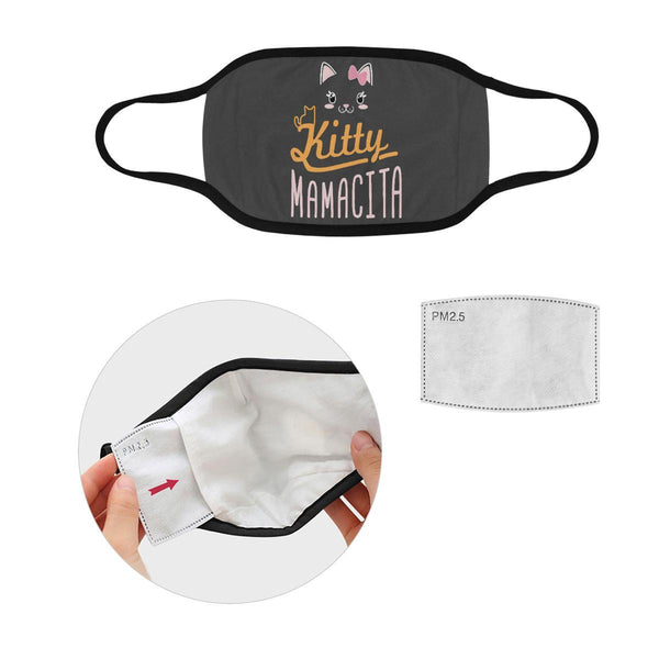 Kitty Mamacita Cat Lovers Washable Reusable Cloth Face Mask With Filter Pocket-Face Mask-S-Grey-NeatFind.net
