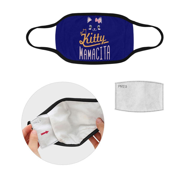 Kitty Mamacita Cat Lovers Washable Reusable Cloth Face Mask With Filter Pocket-Face Mask-S-Navy-NeatFind.net