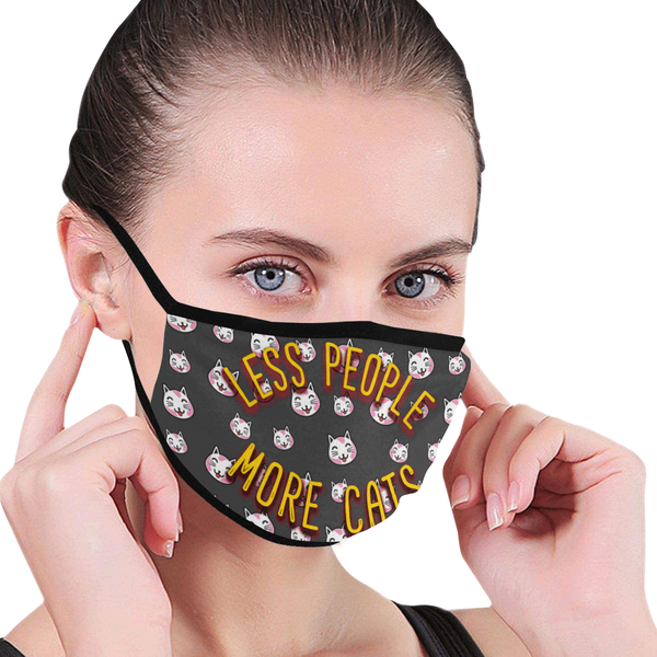 Less People More Cats Washable Reusable Cloth Face Mask With Filter Pocket-Face Mask-NeatFind.net