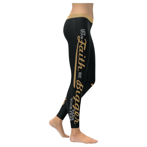 Let Your Faith Be Bigger Than Your Fear Soft Christian UPF40+ Women Leggings-NeatFind.net