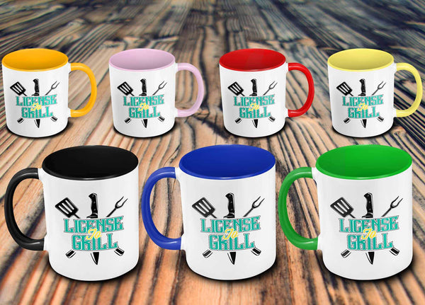 License To Grill Awesome BBQ Cool Funny Gifts 7Color 11oz Coffee Mug-NeatFind.net