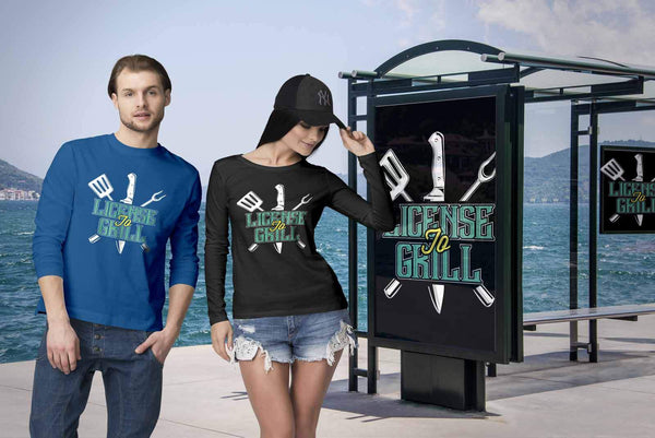 License To Grill Awesome BBQ Cool Funny Gifts Gag Soft Comfy Long Sleeve T-Shirt-NeatFind.net