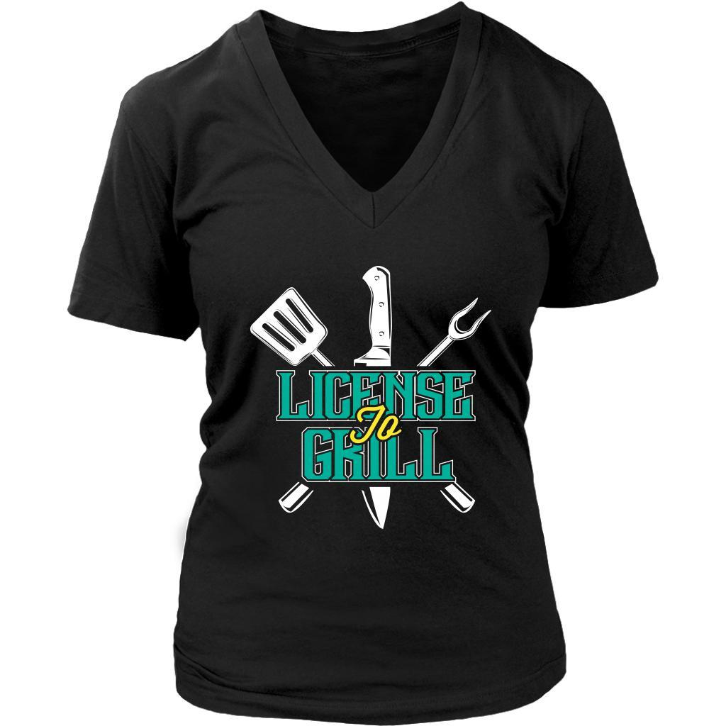 License To Grill Awesome BBQ Cool Funny Gifts Gag Soft Comfy VNeck T-Shirt Women-NeatFind.net