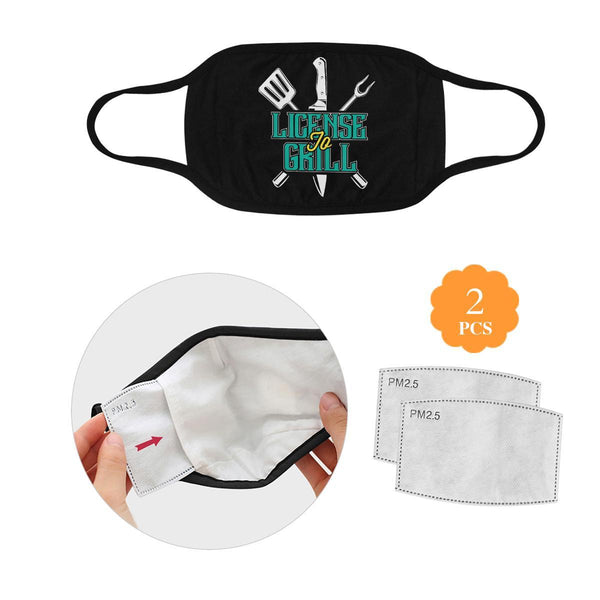 License To Grill Funny BBQ Washable Reusable Cloth Face Mask With Filter Pocket-L-Black-NeatFind.net