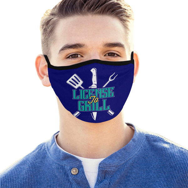 License To Grill Funny BBQ Washable Reusable Cloth Face Mask With Filter Pocket-NeatFind.net