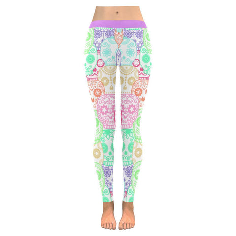 Light Colors Overlapping Sugar Skull Soft UPF40+ Non See Through Womens Leggings-NeatFind.net