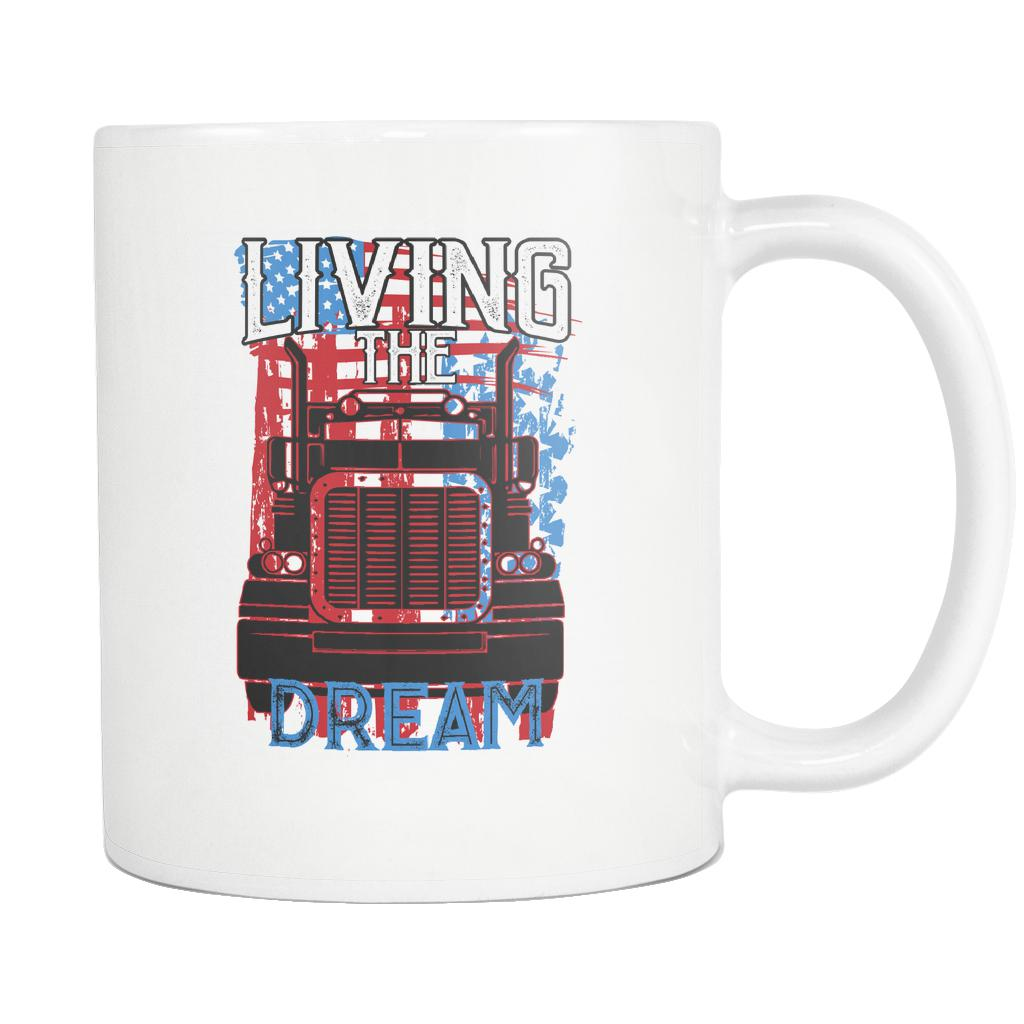 Living The Truck Dream Funny Gifts For Truckers Drivers White 11oz Coffee Mug-NeatFind.net