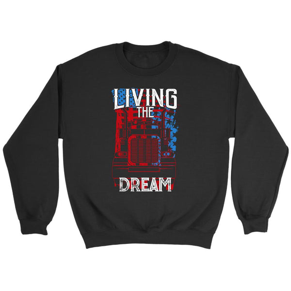 Living The Truck Dream Funny Truckers Drivers Gifts Big Rig Sweater For Men-NeatFind.net