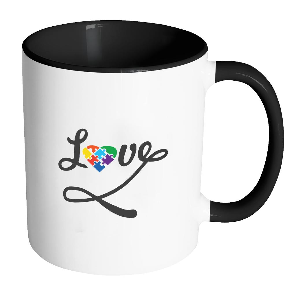Love And Autism Heart Puzzle Autism Awareness 11oz Accent Coffee Mug(7 Colors)-NeatFind.net