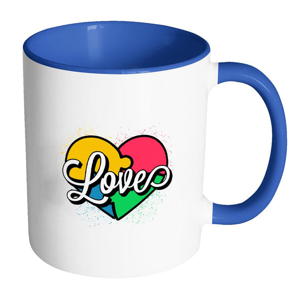 Love And Autism Heart Puzzle Autism Awareness V2 11oz Accent Coffee Mug (7 colors)-NeatFind.net