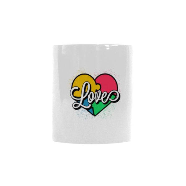 Love And Autism Heart Puzzle Autism Awareness V2 Color Changing/Morphing 11oz Coffee Mug-NeatFind.net