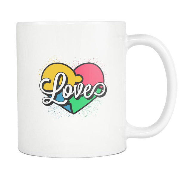 Love And Autism Heart Puzzle Autism Awareness V2 White 11oz Coffee Mug-NeatFind.net