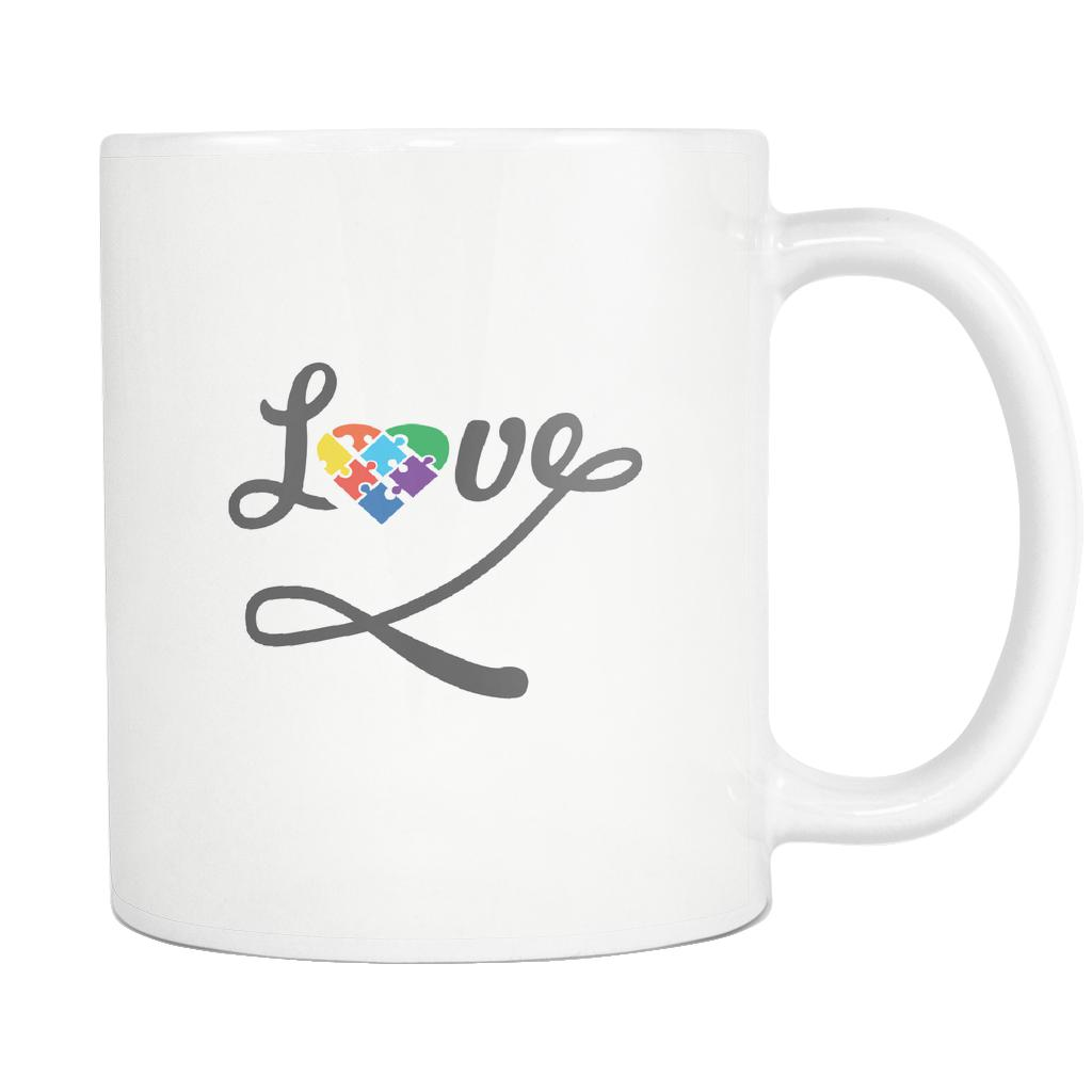 Love And Autism Heart Puzzle Autism Awareness White 11oz Coffee Mug-NeatFind.net