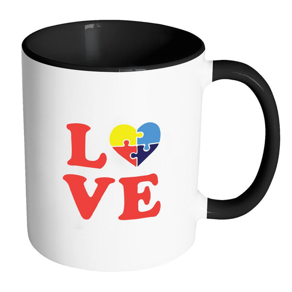 Love & Autism Heart Puzzle Autism Awareness 11oz Accent Coffee Mug(7 Colors)-NeatFind.net