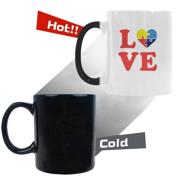 Love & Autism Heart Puzzle Autism Awareness Color Changing/Morphing 11oz Coffee Mug-NeatFind.net