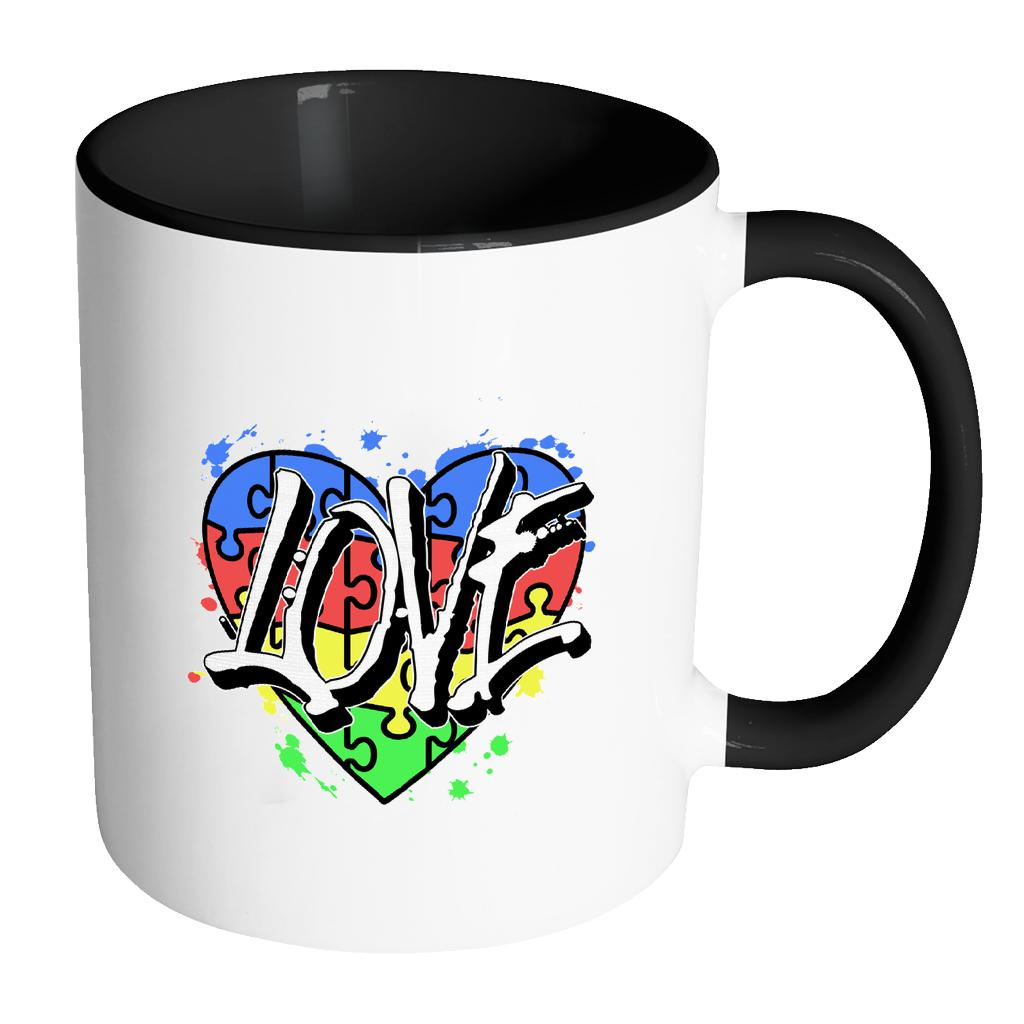 Love & Autism Heart Puzzle Autism Awareness V2 11oz Accent Coffee Mug (7 colors)-NeatFind.net
