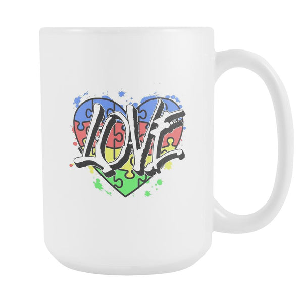 Love & Autism Heart Puzzle Autism Awareness V2 White 15oz Coffee Mug-NeatFind.net