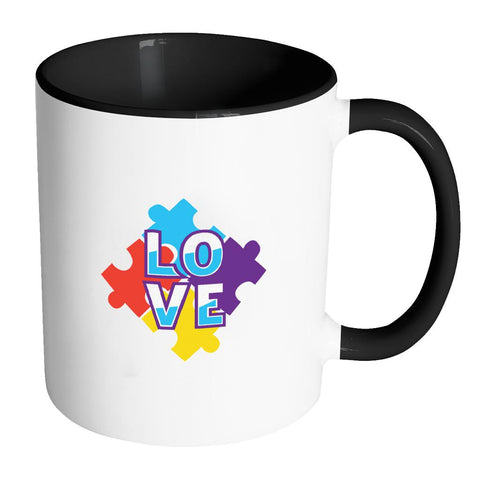 Love & Autism Square Puzzle Autism Awareness 11oz Accent Coffee Mug(7 Colors)-NeatFind.net
