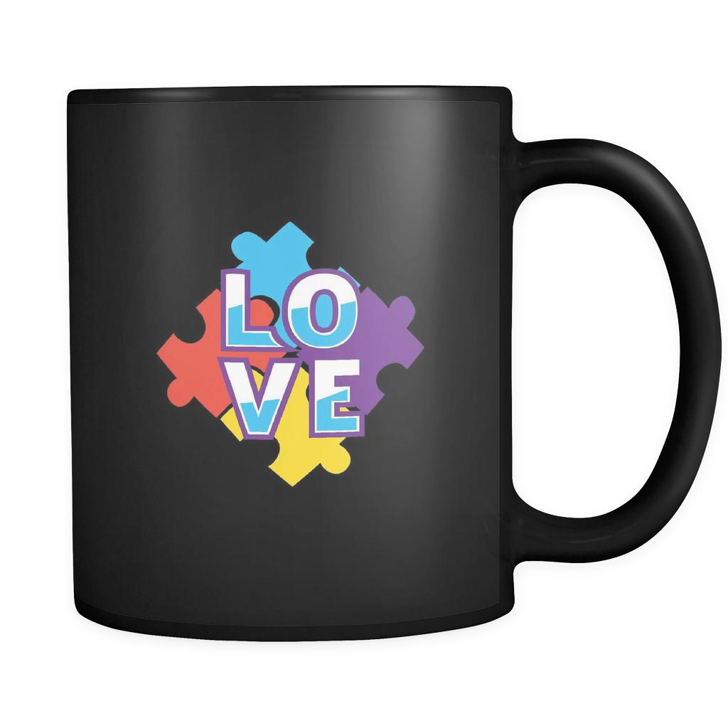 Love & Autism Square Puzzle Autism Awareness Black 11oz Coffee Mug-NeatFind.net