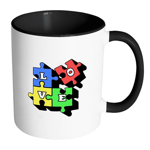 Love & Autism Square Puzzle Autism Awareness V2 11oz Accent Coffee Mug (7 colors)-NeatFind.net