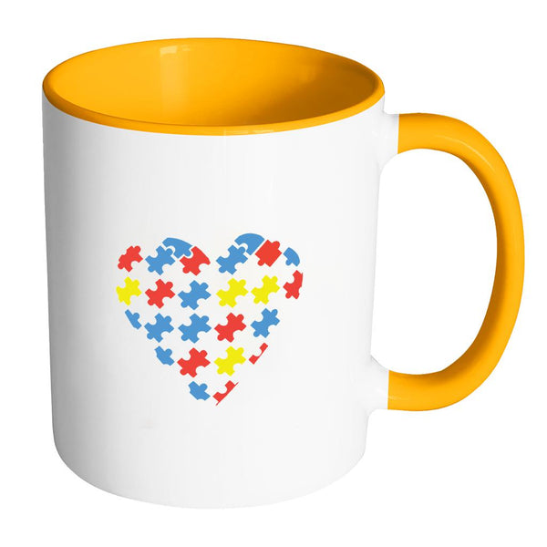 Love & Autism Whole Heart Puzzle Autism Awareness 11oz Accent Coffee Mug(7 Colors)-NeatFind.net