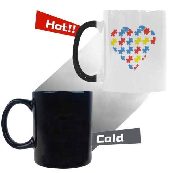 Love & Autism Whole Heart Puzzle Autism Awareness Color Changing/Morphing 11oz Coffee Mug-NeatFind.net