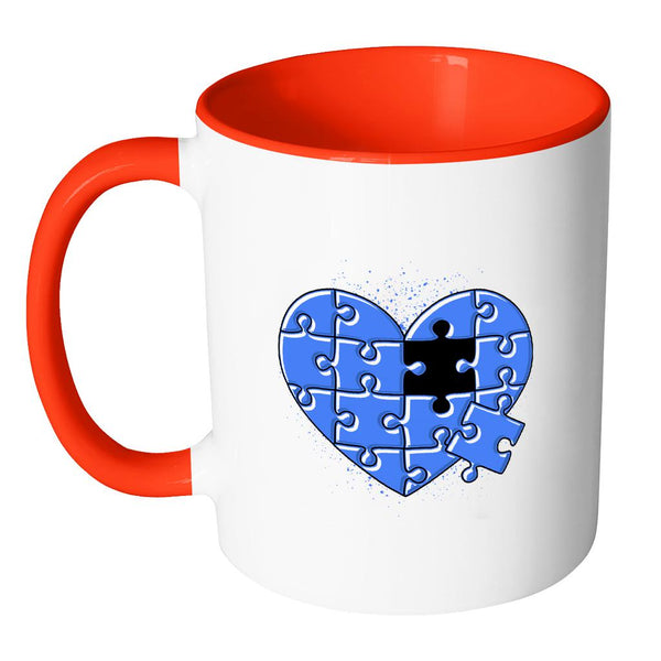 Love & Autism Whole Heart Puzzle Autism Awareness V2 11oz Accent Coffee Mug (7 colors)-NeatFind.net